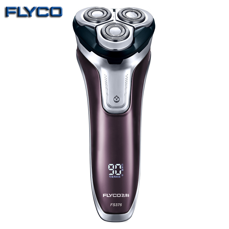 Flyco 3D floating head Rechargeable Portable body washable Electric Shaver Led Light Fast Charge Triple Blade barbeador FS376