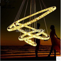 New LED 4 Ring Creative Restaurant Contemporary And Contracted Crystal Droplight Sitting Room Bedroom Lamps