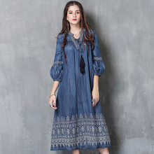 Women's 2018 Spring and Autumn New Large Size Denim Dress Female Casual Retro Tassel Lantern Sleeve Embroidered V-neck Dress frill trim embroidered lantern sleeve dress