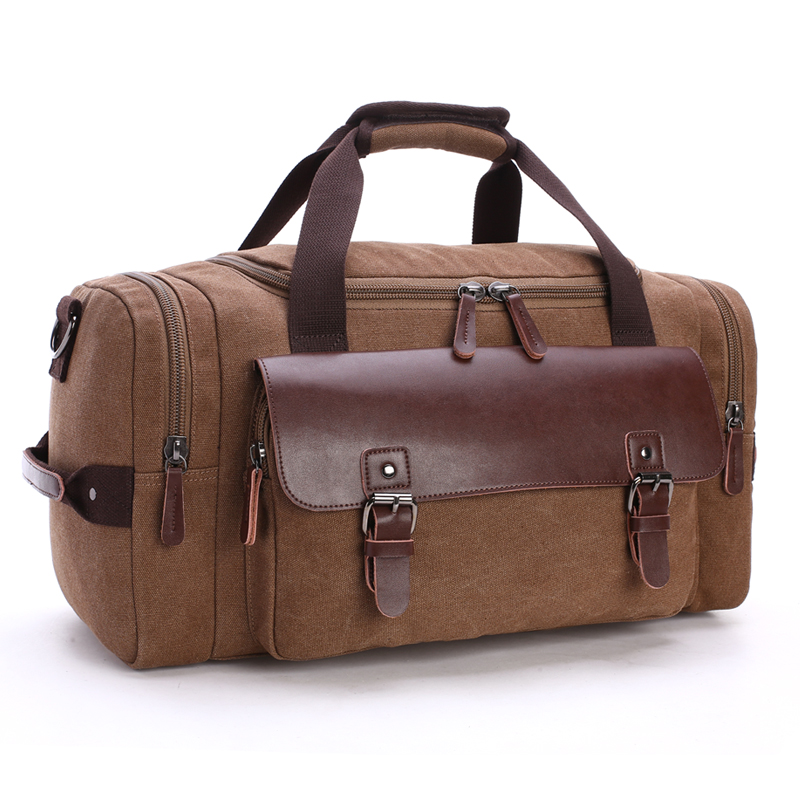 2017new high quality Casual fashion male canvas travel bags new Genuine leather Duffle bag Pure color large capacity men handbag ...