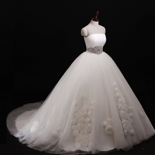 White Strapless Flower Tulle Puffy Ball Gown Wedding Dress With Rhinestone Belt
