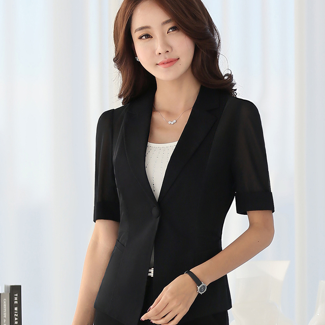 a4b33338463 Summer Female career fashion half sleeve women blazer plus size formal slim  Sexy jackets office ladies plus size work wear tops