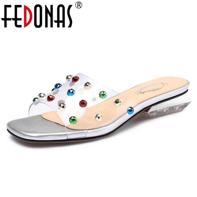 Fedonas Vintage Design Fashion Elegant Crystal Vrouwen Sandalen 2019 Zomer Nieuwe Vierkante Teen Slippers Comfortabele Casual Schoenen Vrouw Fijn Vakmanschap