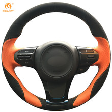 MEWANT Orange Leather Black Suede Car Steering Wheel Cover for Kia K5 Optima 2014 2015