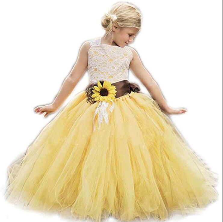 Robes de fille avec nœud filles étage longueur robe de mariée jaune fleur fille robe de princesse fille robe de soirée 2-14 ans