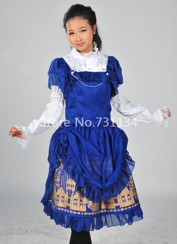 Blau Blumendruck Lolita Hot Fashion ne 2016 KleidSch Gedruckt F Neue Kleid Kurzarm OuPXZik