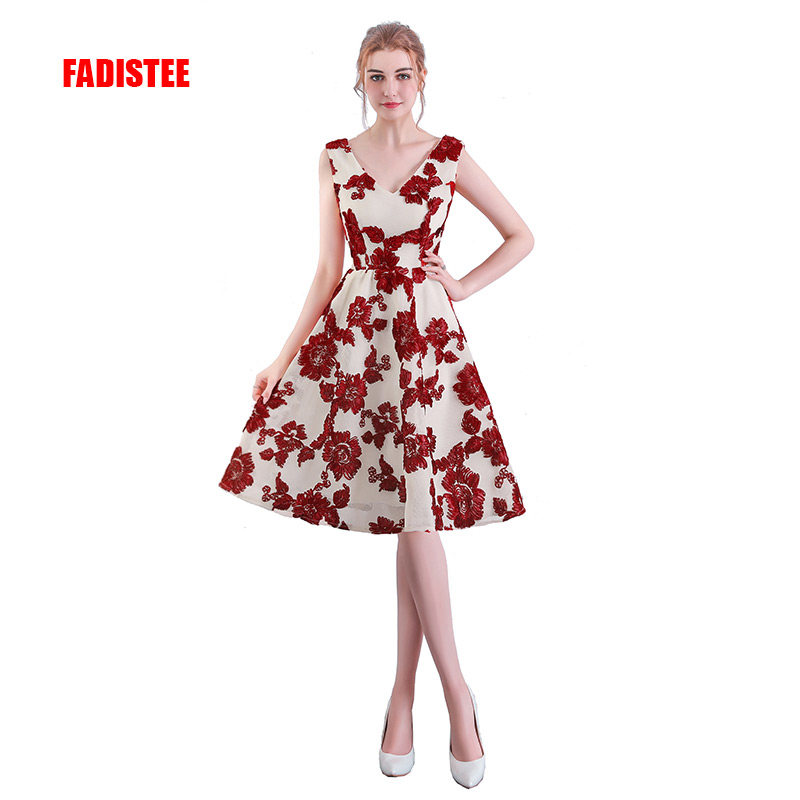 FADISTEE New Arrival Simple Cocktail Party Dresses Vestido De Festa V-neck Flowers Lace Short Style Dress
