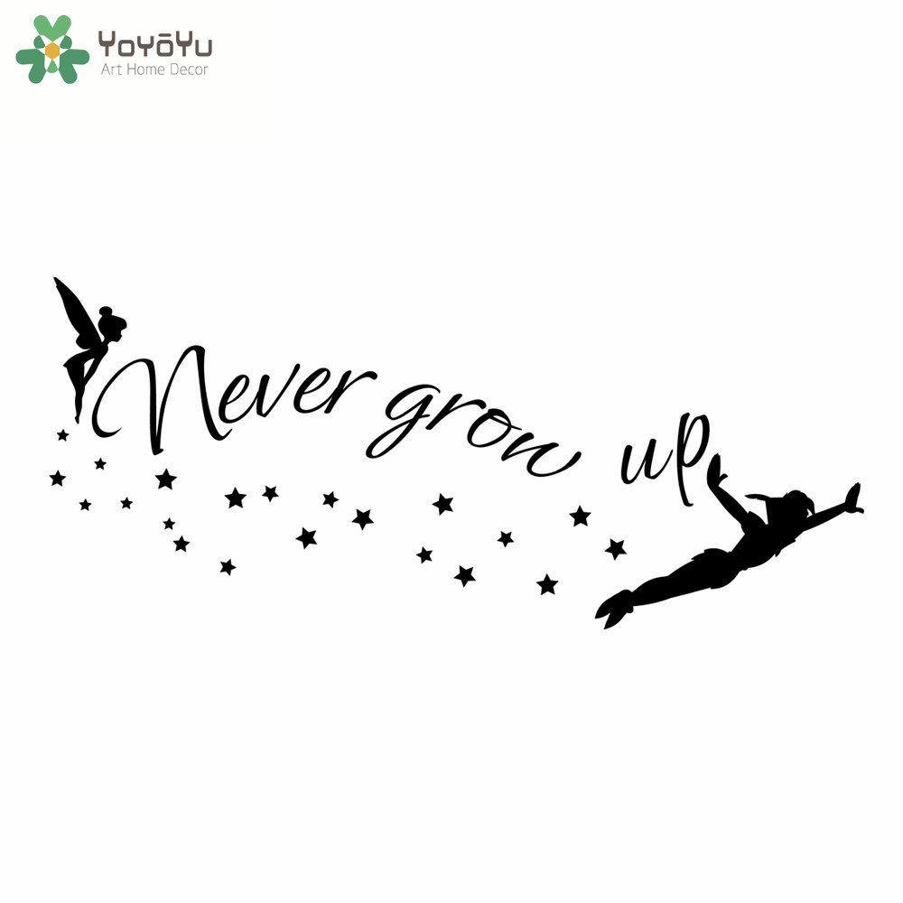 Grow Up Quotes Yoyoyu Peter Wall Sticker For Kids Rooms Stars Quotes Never Grow