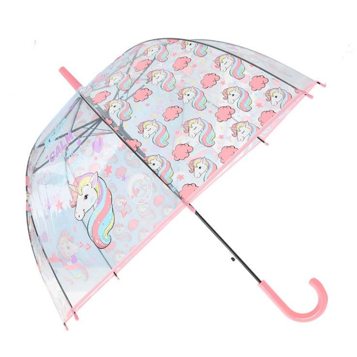 Unicornio nueva paraguas de la protección del medio ambiente transparente paraguas recto paraguas de mango de Apollo de la jaula de pájaros estilo