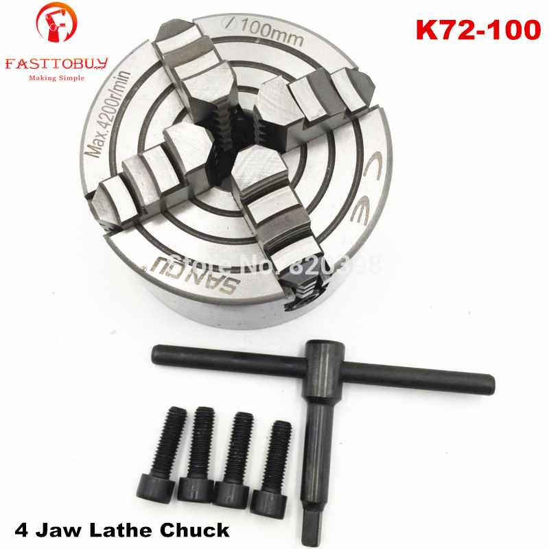 4 Jaw Lathe Chuck M8 Four Jaw Independent Chuck CNC K72 100 for CNC Clathe Fixture