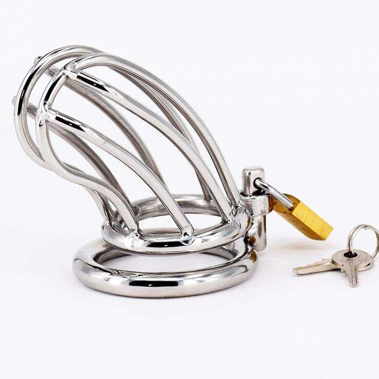 Dispositivi di Castità maschile In Acciaio Inox Cazzo Cage Per Gli Uomini Cintura di Castità In Metallo Anello Del Pene Giocattoli Del Sesso Cazzo di Blocco Bondage Adulto prodotti