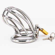 Chastity Device Metal Cage Stainless Steel Cock Male Belt Penis Ring Sex Toys Bondage Products