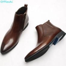 2019 Fashionable Genuine Leather Chelsea Boots For Men Pointed Toe Zipper Flat Handmade Italian Brand Mens Dress