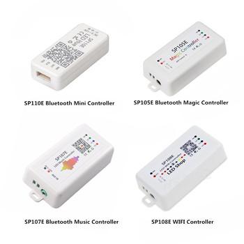 DC5-24V SP110E SP105E SP107E Bluetooth pilot do muzyki SP108E kontroler WIFI kontroler dla WS2811 WS2812B SK6812 APA102 WS2801 taśmy LED tanie i dobre opinie Kontroler RGB Plastic 5-24 v ROHS 1 year Wire SP110E SP105E SP107E SP108E Pixels LED Controller WESIRI