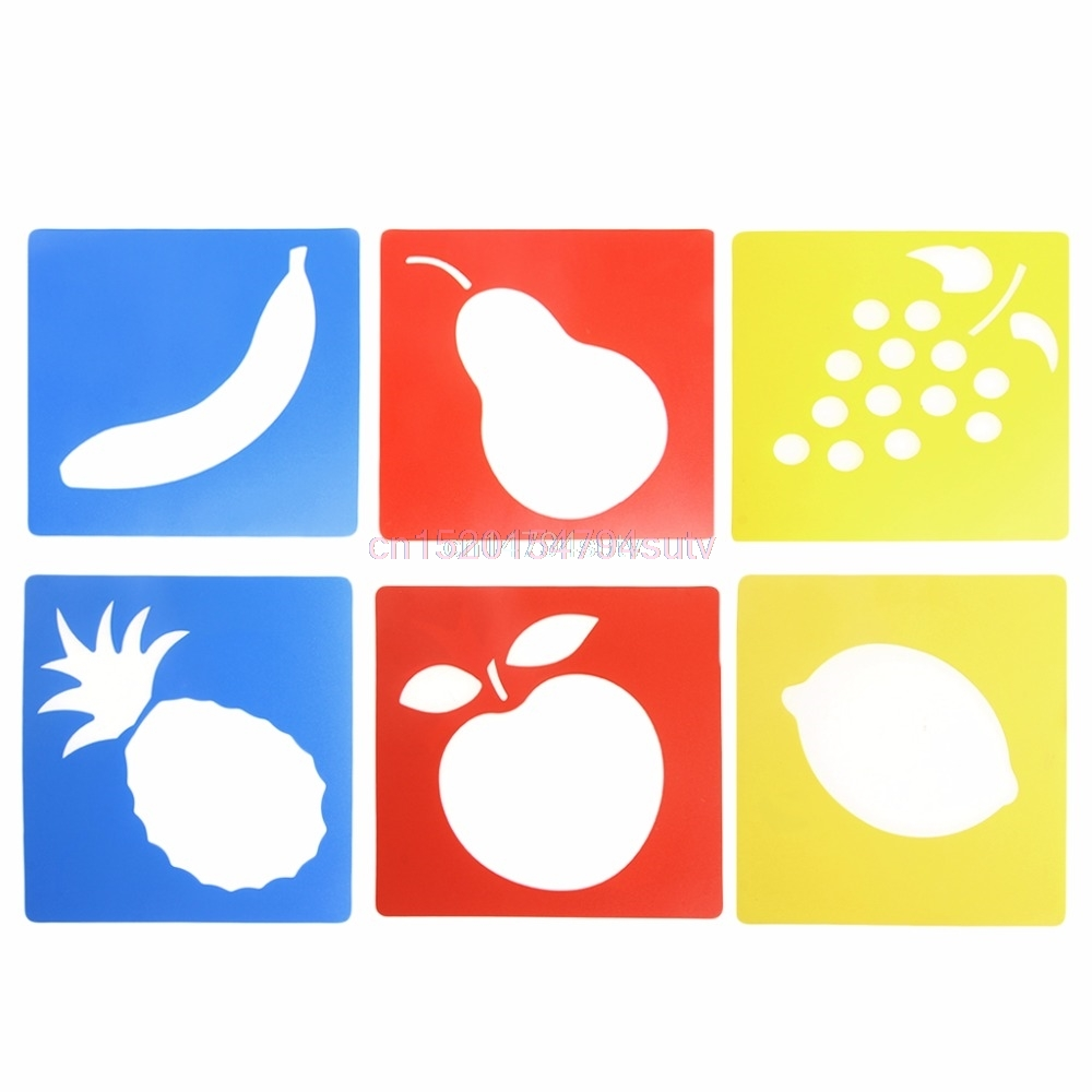 6Pcs Plastic Fruit Shape Picture Drawing Template Stencils Rulers Painting Kids DIy Gift New #H055#