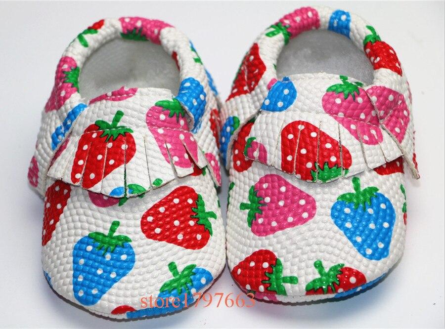 Arco iris de la Fresa Zapatos de Cuero de LA PU Bebé Mocasines Moccs Suaves Borl