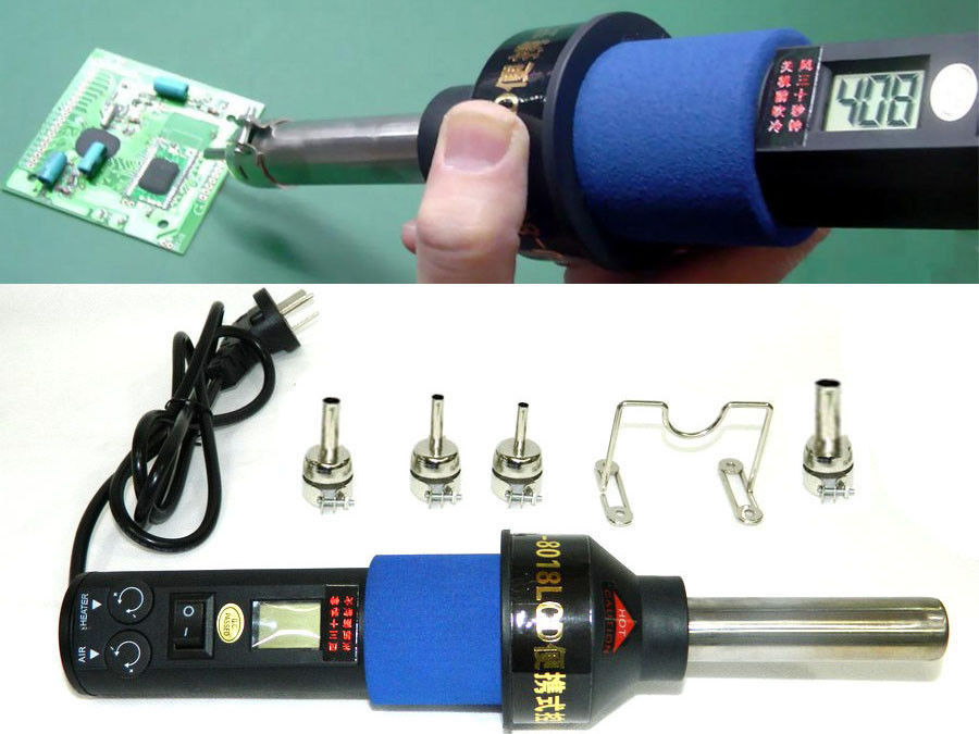 220V 450W 450 Degree LCD Adjustable Electronic Heat Hot Air Gun Desoldering Soldering Station IC SMD