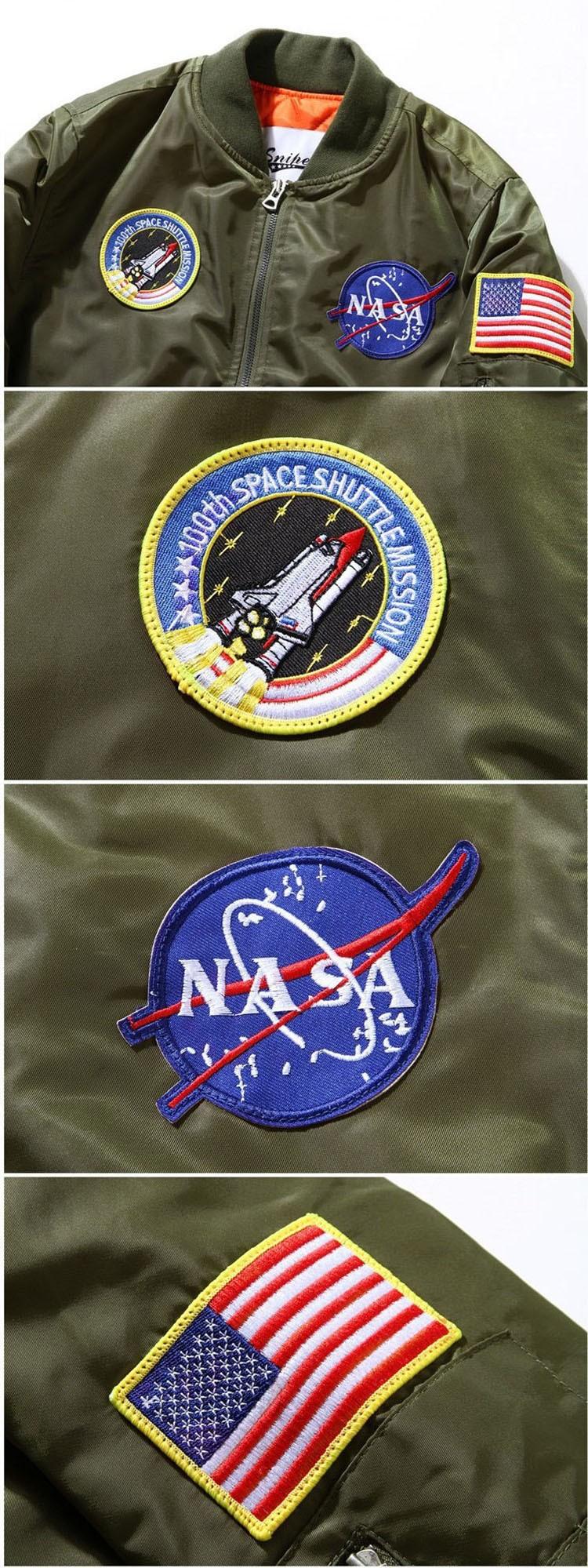 Men Bomber Jackets Flight Pilot Jacket Coat Nasa Air Force Embroidery Baseball Uniform Military Style Coats Army Green Black (10)