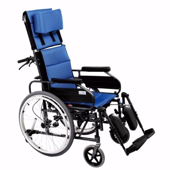 Lightweight portable reclining manual wheelchair for handicapped