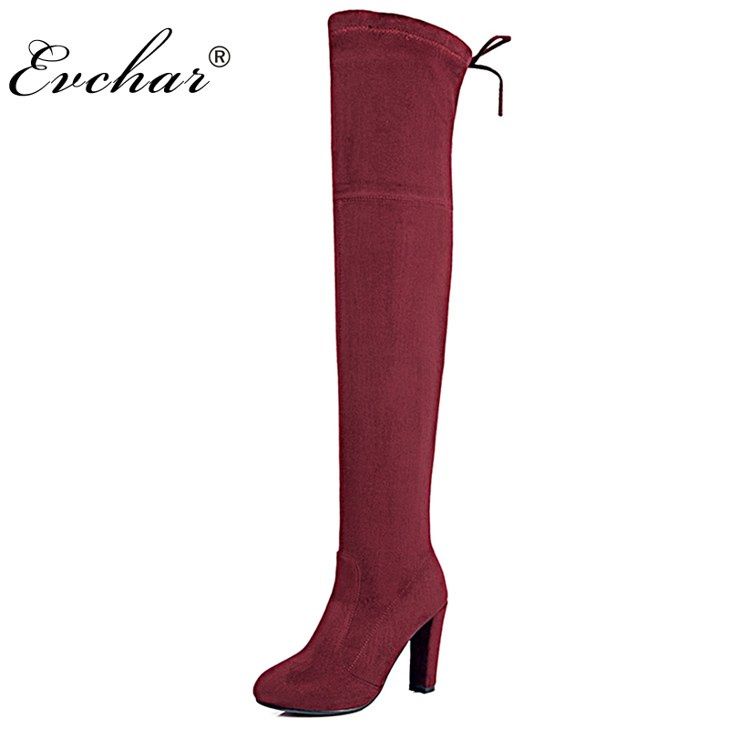 New Women Suede Sexy Fashion Over the Knee Boots Sexy thick High Heel slip-on Boots lace-up Woman Shoes big size 34-43 new 2014 flock suede high heel women boots brand over knee high heel boots for women fashion designer women shoes