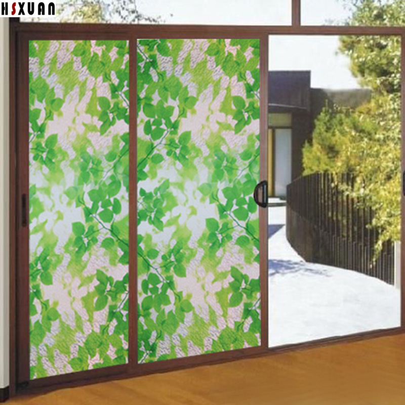 Leaf Stained Glass Windows 80x100cm Frosted Glass Stickers On Living Room Sliding  Glass Door Window Film