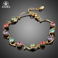 AZORA Vivid Rare Round Multicolor Ice Cream Crystal Gold Plated Chain Tennis Bracelets Valentine S Day