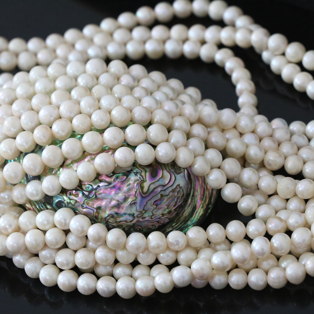 Hot sale natural white freshwater pearl beads approx round 7-8mm fashion top quality loose jewelry making 15inch B1323