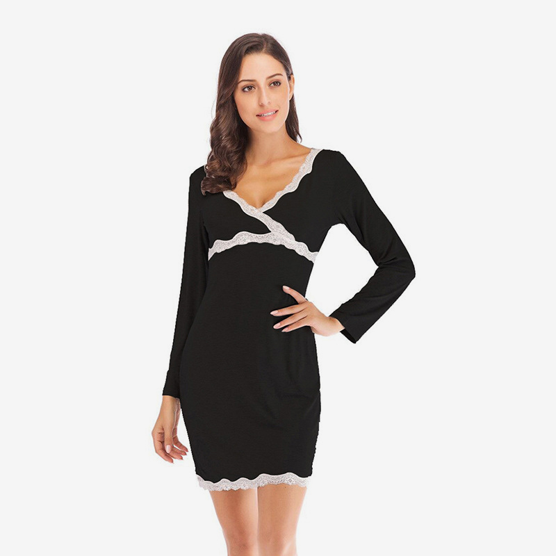 Lace Patchwork V-Neck Women Nightgown Long Sleeve Slim Woman Dressing Gowns Spring Autumn Elegant Lady Homewear Mini Nightdress