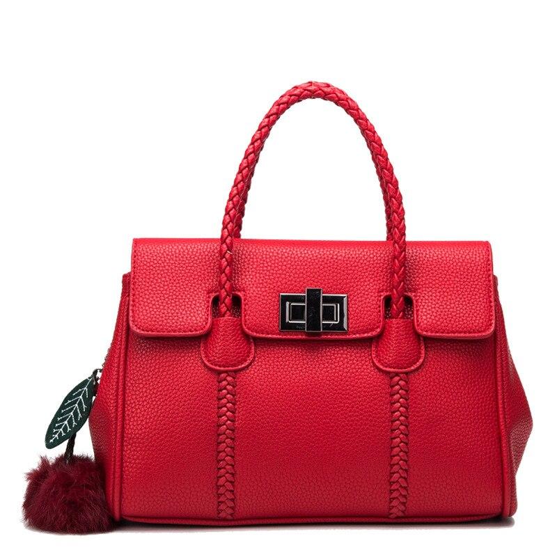 HD Brand Women Fur Handbags  High Quality  Women Bags Women PU Leather Solid Color Shoulder Messenger Bags Sweet Tote Bag Bolsa