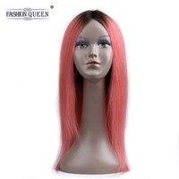 Модные queen hair Ombre 1B Розовый Натуральные волосы парики предварительно Цветной прямые натуральные волосы 1B/розовый парики для Для женщин