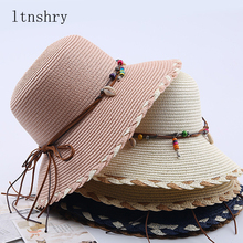 2019 Summer Sun Hat Women Straw Bow Sunscreen Wide side Beach Bucket cap Brim Accessories Womens Korean Style Trendy
