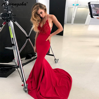 abiye gece elbisesi Spaghetti Strap V Neck Backless Lace Red Mermaid Prom Dresses Sexy Long Formal Evening Gown