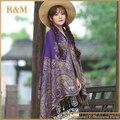2016 женщин элегантный реверсивный цветочные пейсли пашмины обруч шали шарф бесплатная доставка