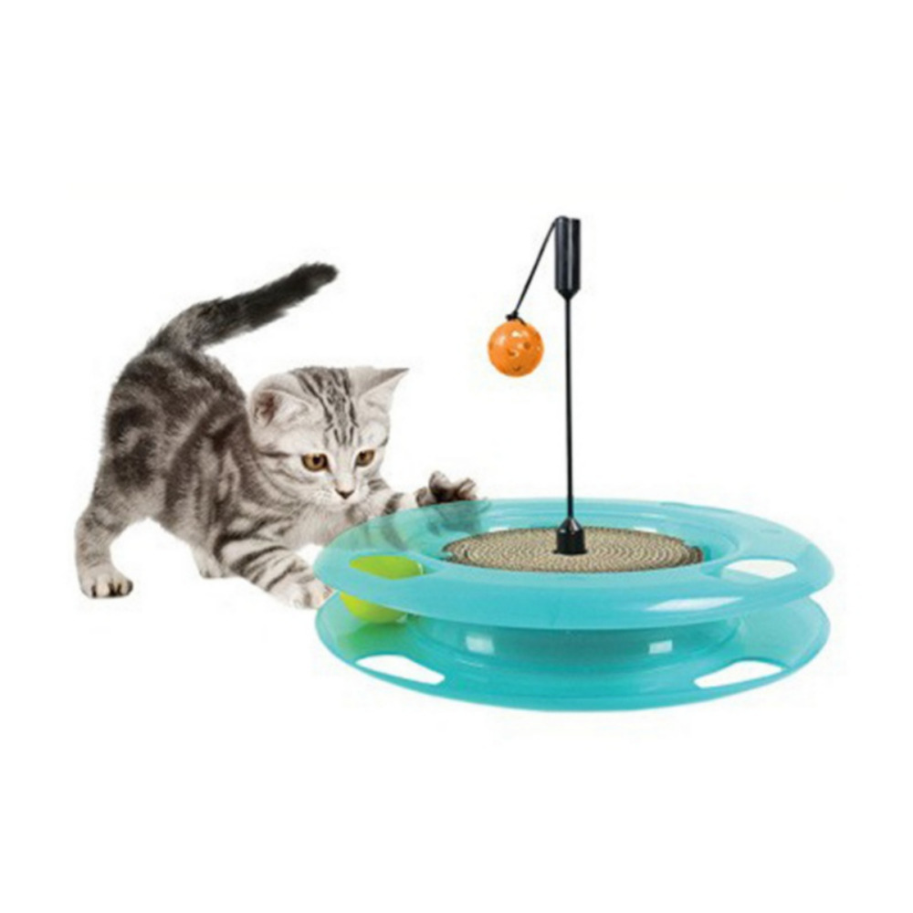 Cat Toy Pet Cat Scratch Made Of Corrugated Paper Puzzle Toy With Track Bell Ball Board Cat Turntable 2018 New