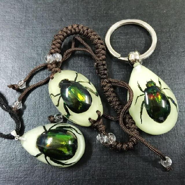 Free Shipping SET NEW REAL GREEN BEETLE GLOW IN DARK LUCITE BRACELET PENDANT KEYCHAIN
