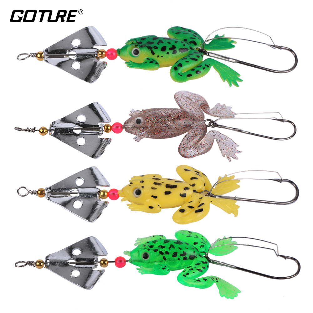 Goture 8 piece Soft Fishing Lure Frog Buzzbaits Artificial Silicone Bait for Bass 6.2g 9cm