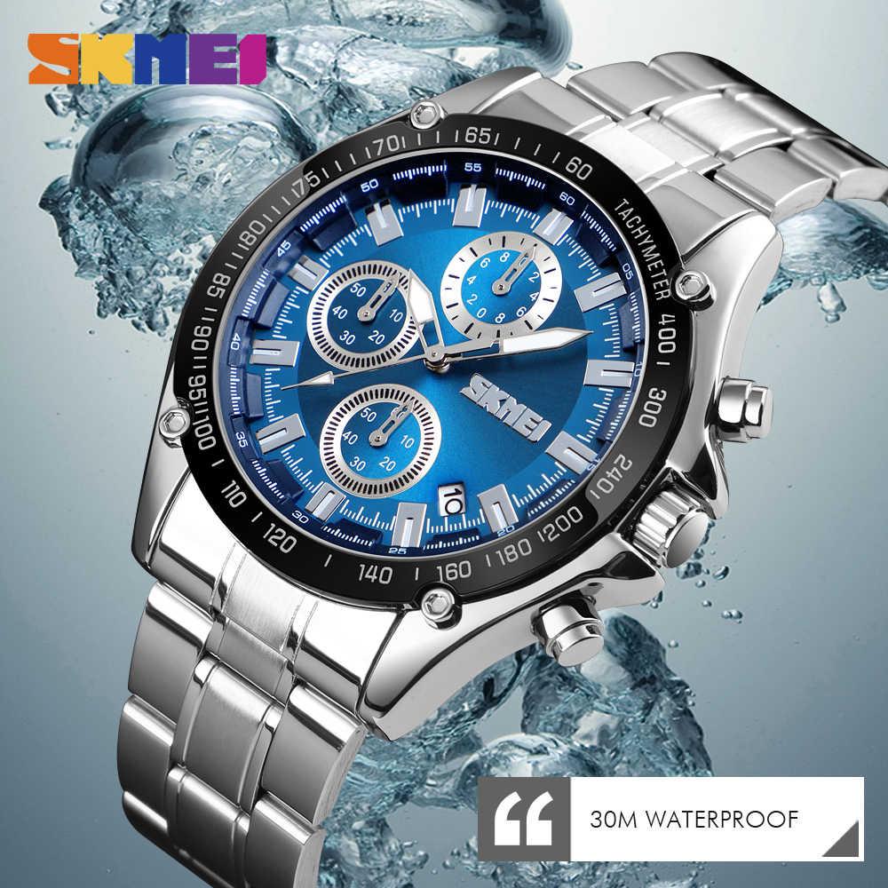 Reloj de cuarzo SKMEI para hombre, correa de acero inoxidable, relojes a prueba de agua, reloj de fecha para hombre, reloj deportivo informal de moda, reloj Masculino 2019.