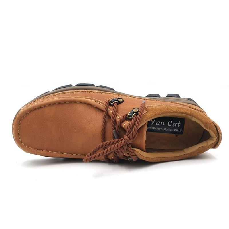 Chaussures pour hommes en cuir véritable 2017 automne hiver décontracté chaussures de travail imperméables en plein air chaussures en caoutchouc chaussures à lacets Oxfords chaussure homme - 5