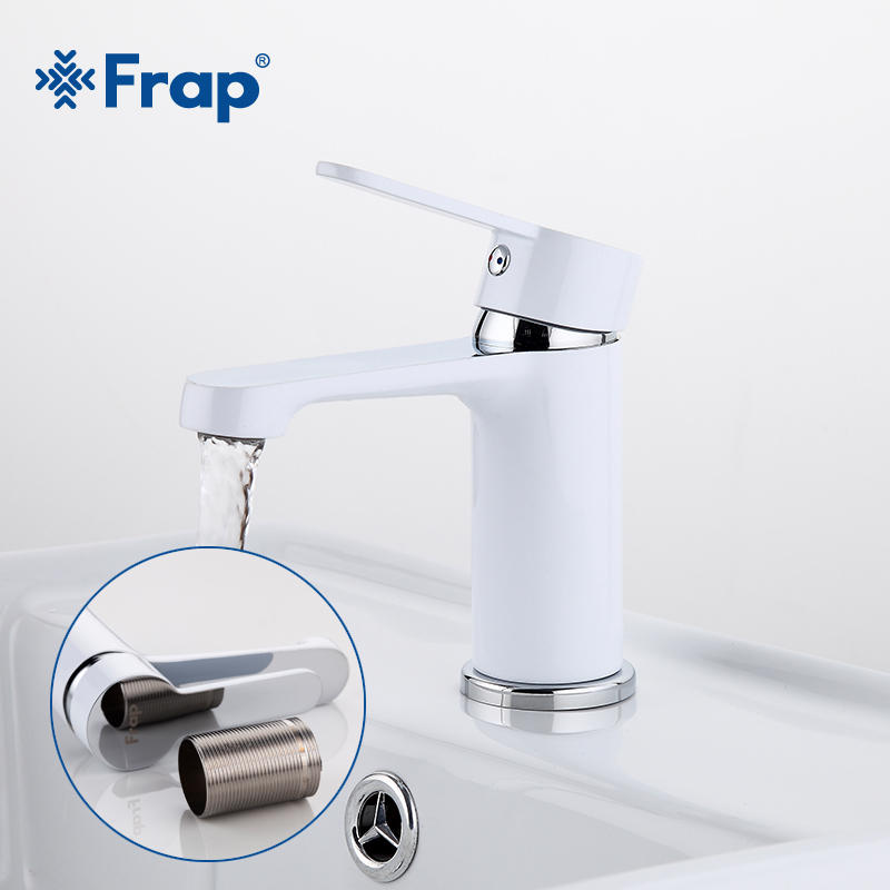 FRAP new White Painting Short New Brand Bathroom Hot And Cold Mixer Tap Solid Single Hand Brass Basin Faucet Chrome Faucet F1041 one piece swimsuit female 2019 sexy low back high leg black monokini swimsuit women scoop neck zip swimsuit bathing suit women