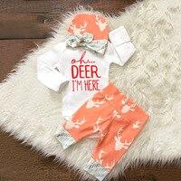 2016 New Fashion Autumn Baby Boy Girl Clothing Sets Newborn Baby Boys Girls Deer Clothes T