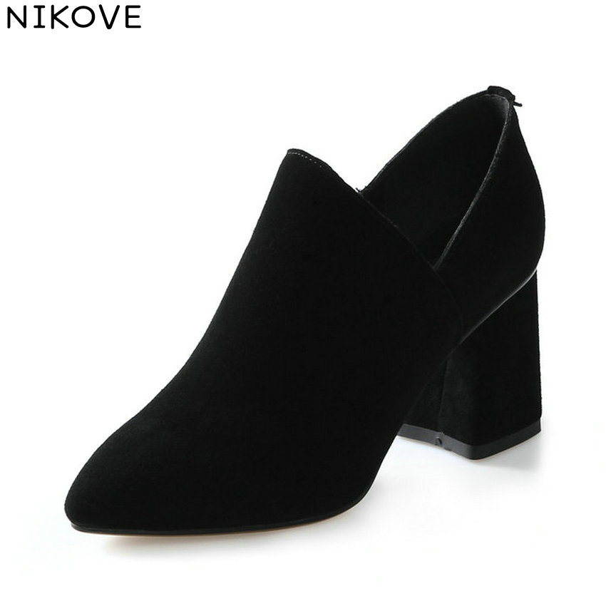 NIKOVE 2018 Women Pumps Shoes Slip on Spring and Autumn Elegant Shoes Square High Heels Pointed Toe Pumps Women Shoes Size 34-39 2017 free shipping siketu spring and autumn women shoes sex high heels shoes wedding shoes pumps g194
