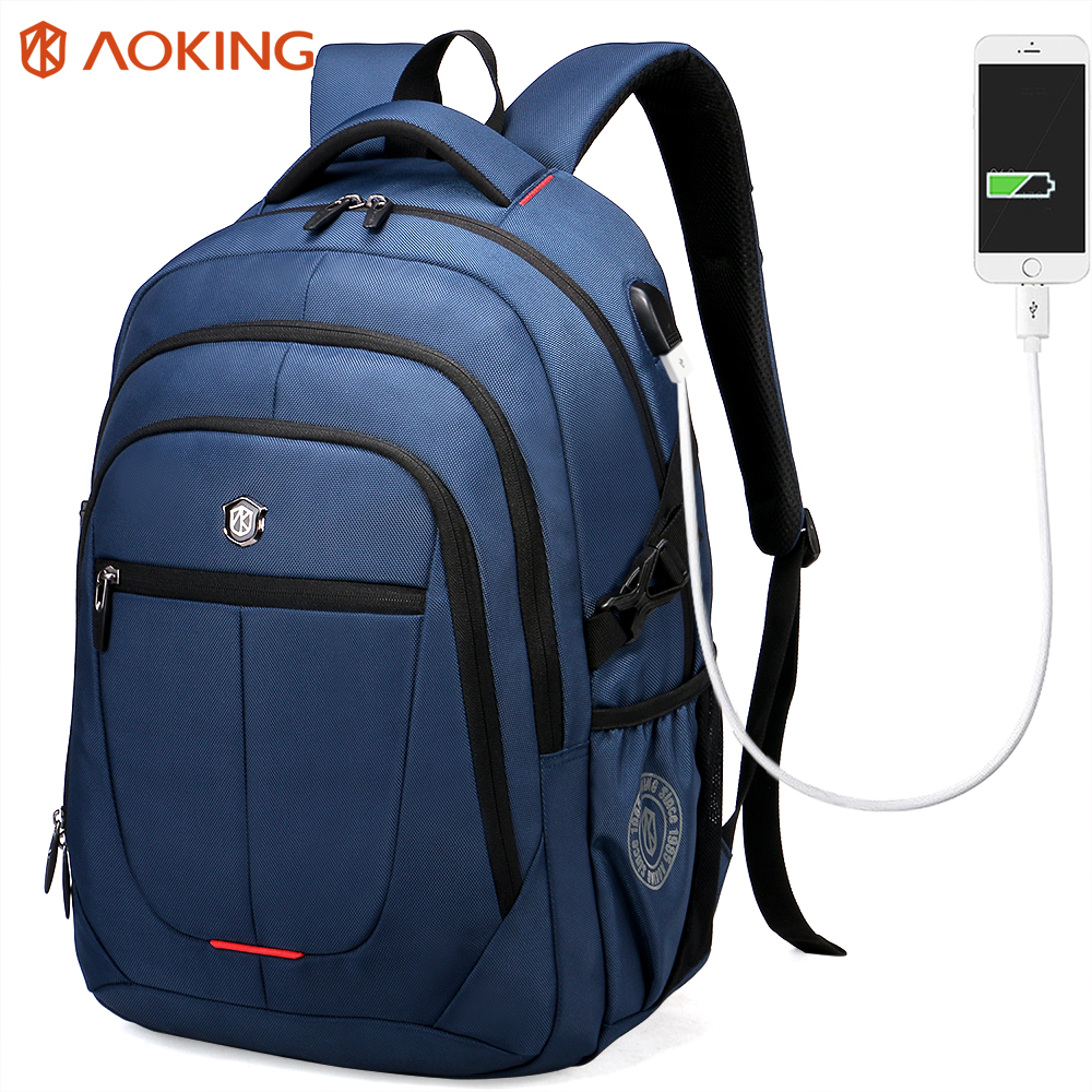 Aoking Brand Blue USB Charging Computer Backpack Strong Zipper Solid Men S Travel Bags Business Bag