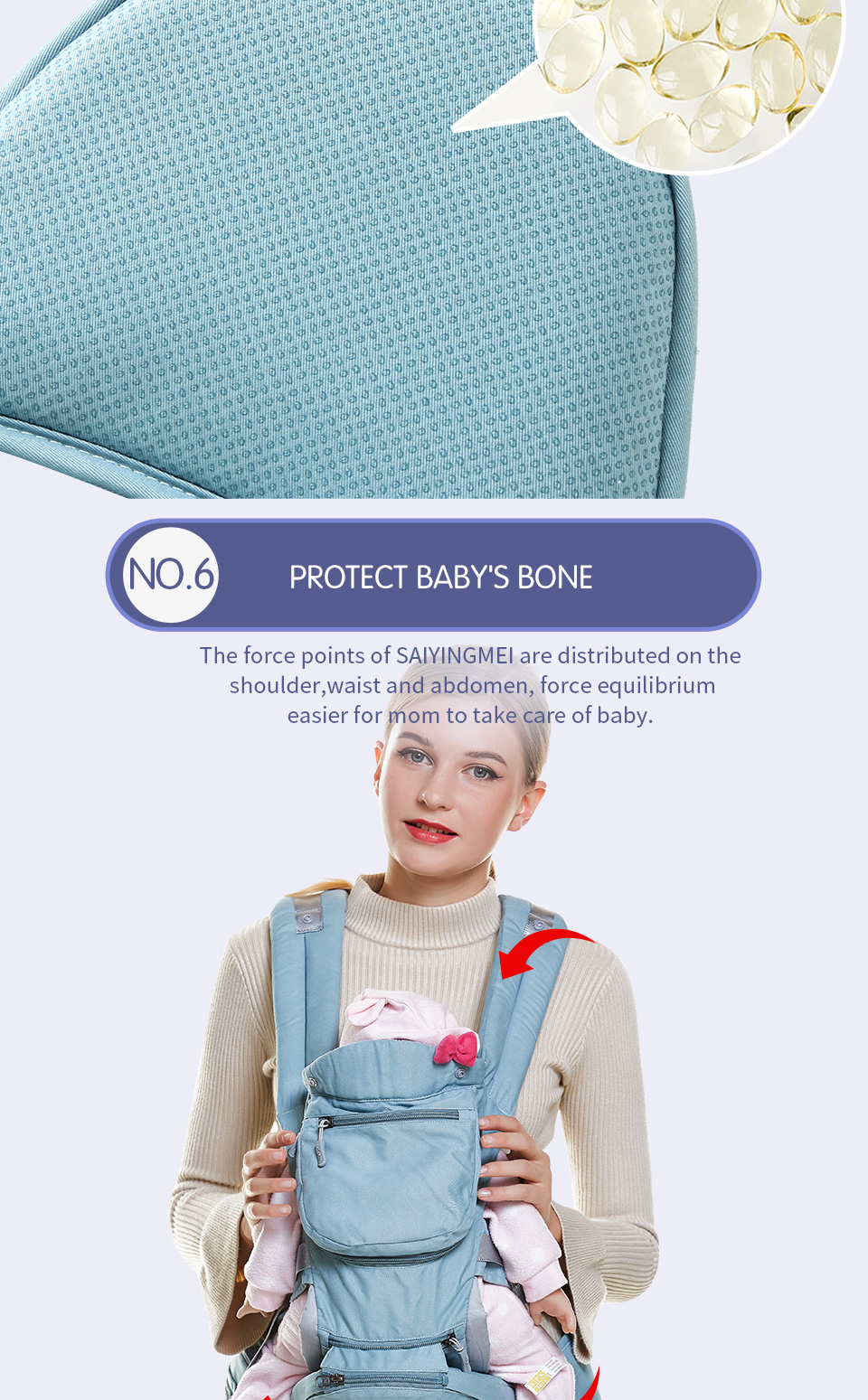 VIP Newborn Adjustable Sling Wrap Hipseat And Ergonomic Baby Carrier 6