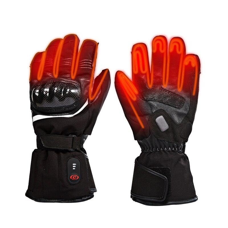 Зимние мотоциклетные перчатки с подогревом на батарейках, нескользящие, предотвращающие падение, наконечники для сенсорного экрана, перча...