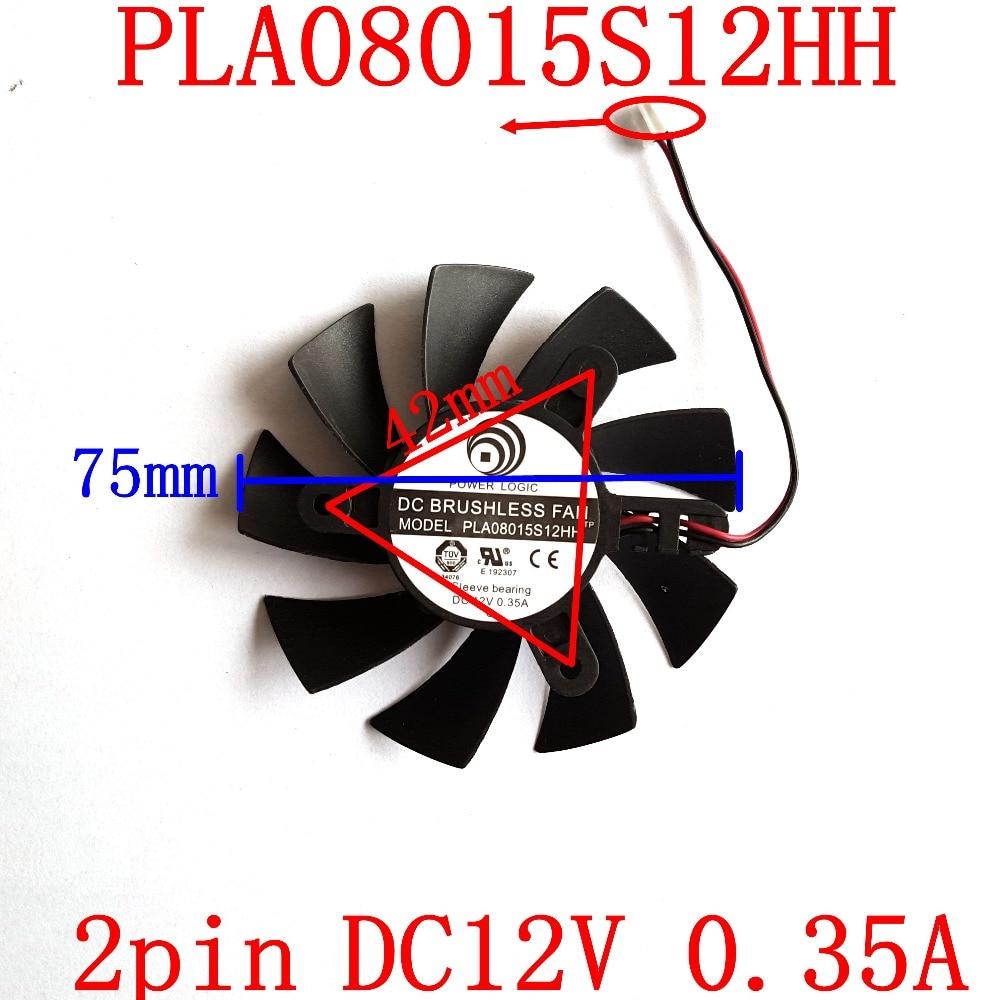 Free Shipping  POWER LOGIC PLA08015S12HH  75mm 42x42x42mm 2PIN  graphics card  fan free shipping power logic pld10010s12m 12v 0 20a 95mm for gigybyte gvn550wf2 n56goc r667d3 r777oc graphics card cooling fan 2pin