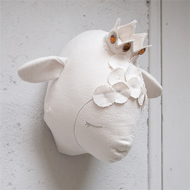 buy 3d sheep head toys wall mounted animal heads wall decor for kids rooms. Black Bedroom Furniture Sets. Home Design Ideas