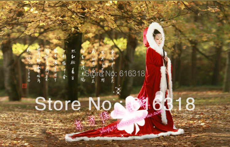Free Shipping Winter New Design Costume Dark Red Photography Fur Cloak Stage Clothing Four Great Chinese