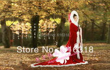 Free Shipping Winter New Design Costume Dark Red Photography Fur Cloak Stage Clothing Four Great Chinese Beauty ZhaoJun Married