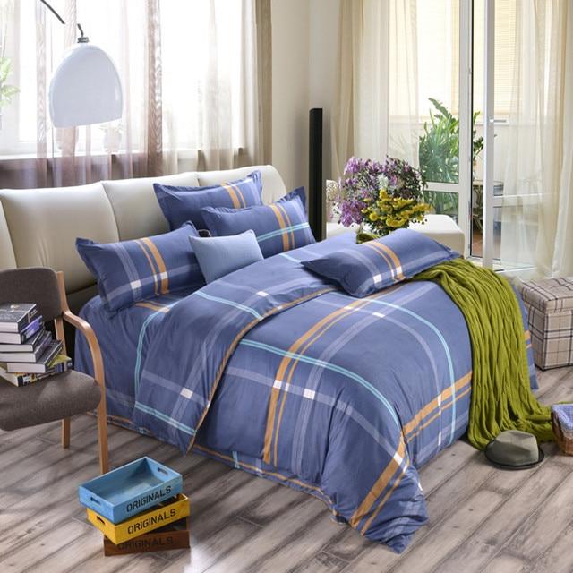 100% Superfine fiber Square grid Winter Bedding Set king size