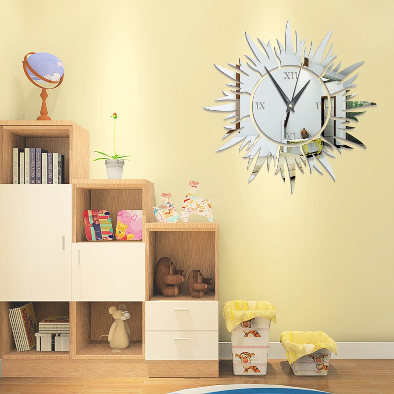 Acrylic Mirror Wall Clock Sun Shape Self adhesive Glue Backing ...